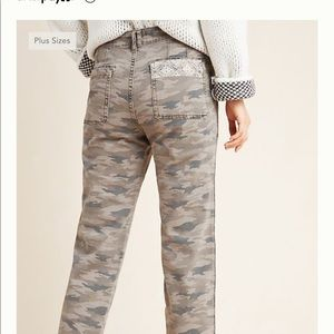 Anthropologie Mavis Camo Utility Pants Embroidered